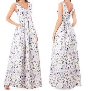 JS Collections Metallic Sleeveless Jacquard Dress